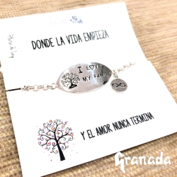 Pulsera de plata - i love my family